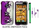 Alcatel One Touch Fierce 7024W (T-Mobile) Premium Pretty Design Protector Hard Cover Case + 3.5MM Stereo Earphones+ 1 of New Metal Stylus Touch Screen Pen (Purple Silver Black Vine)