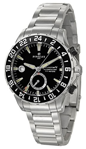 Perrelet Diver Seacraft GMT Dual Time Zone Automatic Steel Mens Watch Black Dial Calendar A1055-B