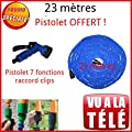 Tuyau d'arrosage r�tractable 23M + Pistolet 7 jets + 2 Joints ELAST'O + Embouts Raccord Universel