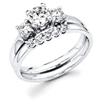 14k White Gold Three 3 Stone Round Diamond Engagement Anniversary 2 Ring Set w/ Matching 5 Stone Diamond Wedding Band (3/4 cttw, G-H Color, SI1 Clarity)