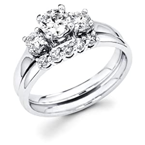 14k White Gold Three 3 Stone Round Diamond Engagement Anniversary 2 Ring