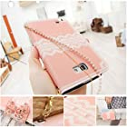 Bow Lace Diamond Wallet Flip Feature with Credit/id Card Slots/holder&strap PU Leather Bling Case Cover For Samsung Apple Smart Mobile Phone (Samsung Galaxy Note 2 II N7100 T889 i605)
