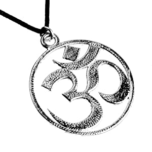 Om Silver Dipped Pendant Necklace on Adjustable Cotton Fiber Cord