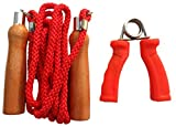 VIRTUOUS Unisex Wood Skipping Rope and Power Grip 300 gm Red