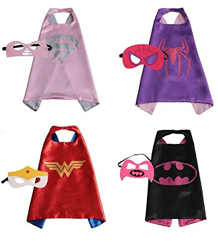 RioRand Comics Cartoon Dress Up Costumes Satin Capes with Felt Masks for girls (Set of 4)