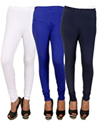 PRO Lapes Cotton Lycra Churidar Legging Set Of 3 - B01DJ3QATE