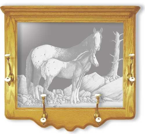 Oak Wall Coat Rack With Appaloosa Horse Etched Mirror - Appaloosa Horse Decor - Unique Appaloosa Horse Gift IdeasB00011FK76