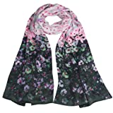 100% Luxurious Charmeuse Silk Cherry Blossom Long Scarf Shawl - Various Colors