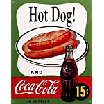 Hot Dog and Coca Cola Coke Combo 15 Cents Retro Vintage Tin Sign 13 by 16 inch 1 count