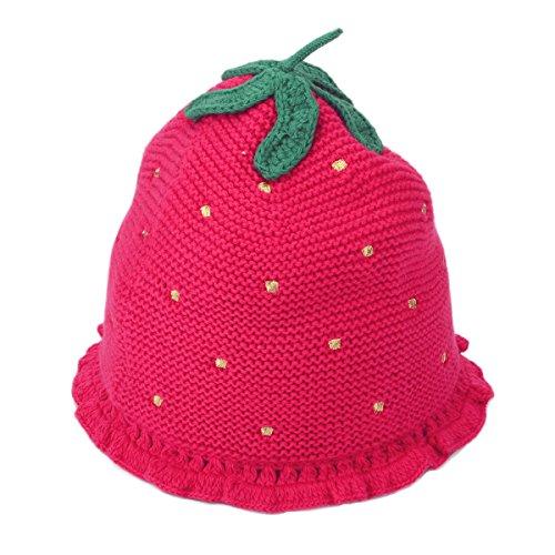 Flammi Toddler Kids Little Girls Knitted Strawberry Beanie Hat (2-4yrs) (Strawberry Shortcake Hat)