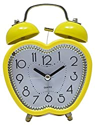 Like Analog Apple shape Yellow Clock with Alarm and Backlight