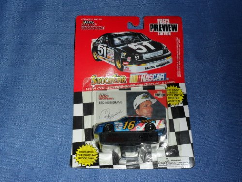 1995 NASCAR Racing Champions . . . Ted Musgrave #16 The Family Channel Ford Thunderbird 1/64 Diecast . . . Includes Collector's Card and Display Stand . . . Preview Edition