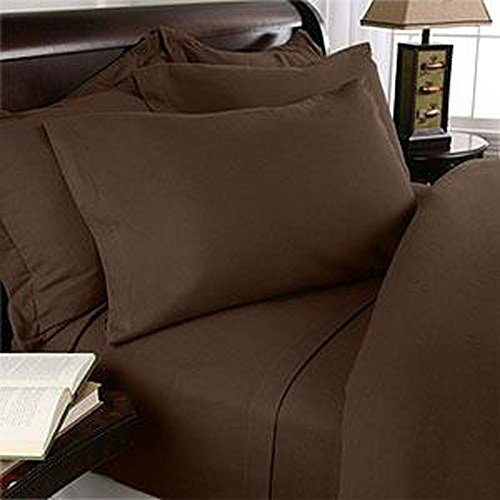 "Solid Chocolate 600 Thread Count Egyptian Cotton Bed Sheet Set With 34""Extra Deep Pocket Solid ( California King/Western King Size)"