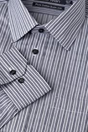 Pure Cotton Quick Iron Twill Striped Shirt [T11-7502-S]