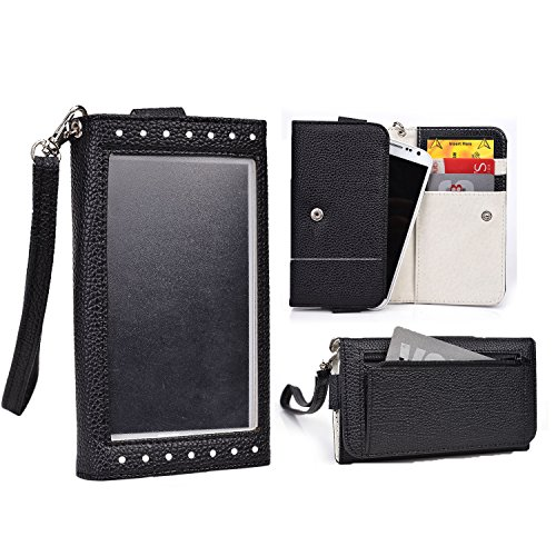 Cooper Cases(TM) Expose Women's Clutch Verykool RS75 Flint / s401 Aura Smartphone Wallet Case in Black / White (Elegant Dual-Tone Leather, Built-in Plastic Screen Shield, Credit Card/ID Slots, Zipper Pocket, Carrying Strap)