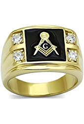Masonic Mens Black Enamel Simulated Diamond CZ Stonemason Lodge Ring