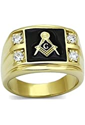 Masonic Mens Black Enamel Simulated Diamond CZ Stonemason Lodge Ring