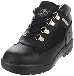 Timberland Leather and Fabric Field Boot (Toddler/Little Kid/Big Kid),Black,5 M US Big Kid