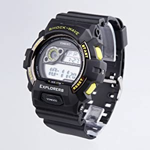 TIME100 LCD Multifunction Yellow Bezel Sport Electronic Watch #W40016M.05A