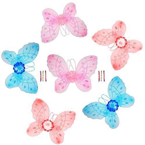 Best Large Dress Up Butterfly Fairy Pixie Wings Costume Best Stocking Stuffer Gift Ideas For Girls 6 Pack Plus Headbands Best Premium Party Favor Bag Stuffers For Young Girls - (Large Butterfly Wings 6 Pack) front-316199