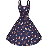MIUCOO Women's 1950s Vintage Floral Rockabilly Swing Dresses (XXXX-Large, Navy)