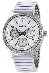 Fossil Women's ES2953 White Expandable bracelet White Steel Case Silver Dial Crystallized Bezel Watch