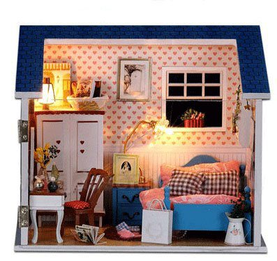 Big Dollhouse Miniature Diy Wood Frame Kit With Light Model Sweet Promise Gift Ldollhouse48-D70