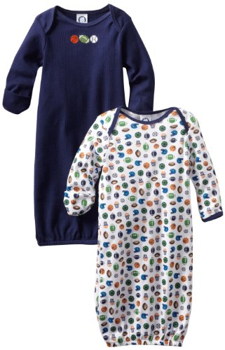 Gerber Baby-Boys  Sports 2 Pack Lap Shoulder Gown, Blue/White, 0-6 Months