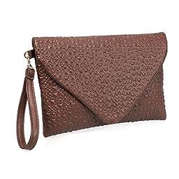 BMC Fashion Cowboy Brown Forward Faux Leather Envelope Style Studded Square Circle Fashion Clutch