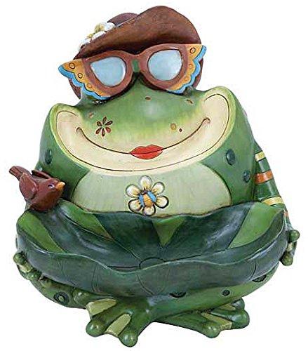 Frog Toad Bowl Statue Sculpture, 11-inch, Trinket Keys Candy Dish, Garden Bird Bath Feeder