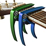 Guitar Capo (2 Pack) for Guitars, Ukulele, Banjo, Mandolin, Bass - Made of Ultra Lightweight Aluminum Metal (1.2 oz!) for 6 and 12 String Instruments - Premium Accessories by Nordic Essentials? - (Green + Blue) - Lifetime Warranty