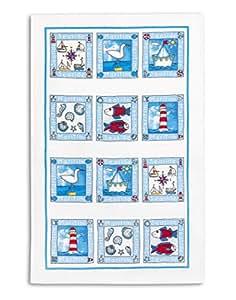 torchon de vaisselle 100 coton nid d 39 abeille imprim triolino motif bord de mer 45x70cm. Black Bedroom Furniture Sets. Home Design Ideas