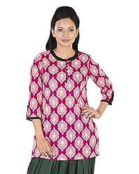 Parinita Women's Cotton Regular Fit Kurta (150429_PINK-M, Pink, Medium)
