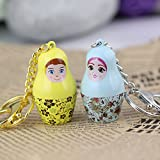 Maycom® Creative Fashion Romantic Couple Keychain Key Chain Ring Keyring Key Fob for Valentines Day Gift (Matryoshka Yellow & Blue)