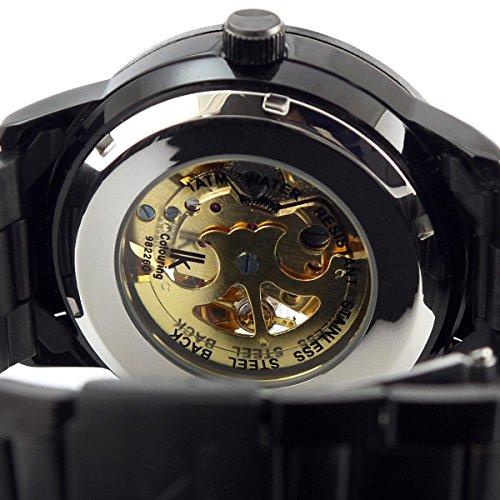 Alienwork IK mechanische Automatik Armbanduhr Skelett Automatikuhr Uhr schwarz Edelstahl 98226-07 5