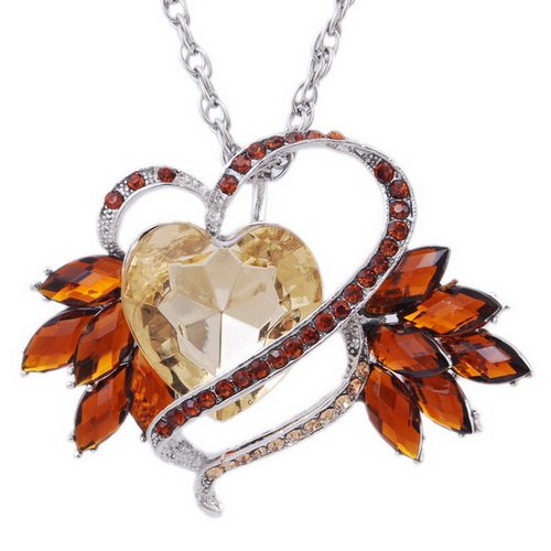 Imitate Zircon Pendant Necklace Wedding Chain Alloy Heart Rhinestone CHAMPAGNE