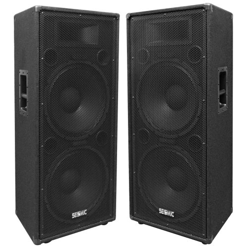 "Seismic Audio - Fl-155Pc - Pair Of Dual Premium 15"" Pa/Dj Speaker Cabinets With Titanium Horns - Wheel Kits And Rear Handles - 800 Watts Rms Per Cabinet"
