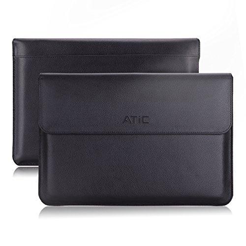 ATiC スリーブケース - MacBook Air 13.3インチ & MacBook Pro 13.3インチタブレット専用スリーブケース。BLACK  (名刺カードスロット付き,ポケット付き, 内部繊維)(13インチ以下のタブレットに適応)