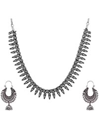 Ganapathy Gems Silver Metal Strand Necklace Set For Women (GPJC38)