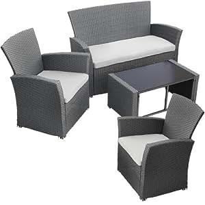 Miadomodo set divano in polyrattan arredo giardino 4 pezzi for Amazon cuscini arredo