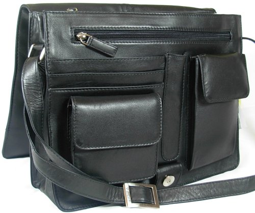 New ladies Visconti black soft leather messenger organiser bag 753
