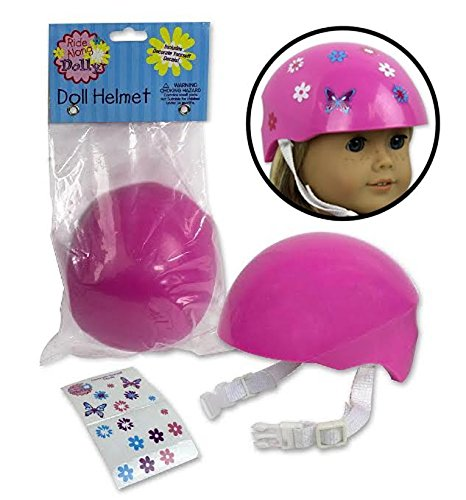 Doll Bike Helmet - Pink Bike Helmet with Easy Strap and Decorate Yourself Decals - Fits American Girl