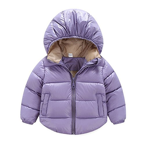 Toddler Baby Boys Girls Outerwear Hooded coats Winter Jacket Kids Clothes 6-12 Months Purple