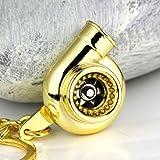 Maycom® Creative Spinning New Turbo Turbocharger Keychain Key Chain Ring Keyring Keyfob (Gold Color)