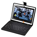 IRulu 7 Inch Black Aritificial Leather Look Case + USB 2.0 Keyboard With Free Stylus & Stand Feature For Protection Of Your 7