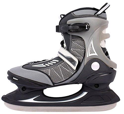 EISHOCKEY SCHLITTSCHUHE 38 39 40 41 42 43 NEU Eislaufen Semi-Soft Boots gefüttert mit Schonern Silber schwarz