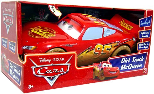 Picture of Mattel Disney / Pixar CARS Movie Toy Deluxe 14 Inch Figure Lights & Sounds Dirt Track Lightning McQueen (B000ZPLLUS) (Mattel Action Figures)
