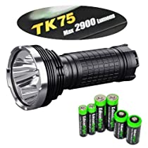 FENIX TK75 L2 2900 Lumen Triple CREE XM-L2 U2 LED Flashlight / Searchlight with EdisonBright Battery Sampler Pack