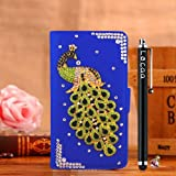 Locaa(TM) HTC Desire 510 HTC510 3D Bling Peacock Case + Phone stylus + Anti-dust ear plug Deluxe Luxury Crystal Pearl Diamond Rhinestone eye-catching Beautiful Leather Retro Support bumper Cover Card Holder Wallet Cases [Peacock Series] Purple case - Gre
