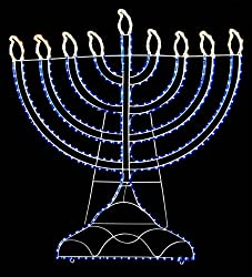 "20"" White & Blue LED Lighted Rope Light Hanukkah Menorah Yard Art Decoration"